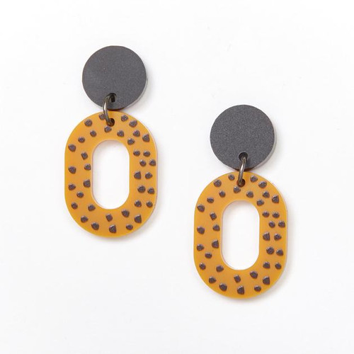 Lucy Earrings Black and Mustard