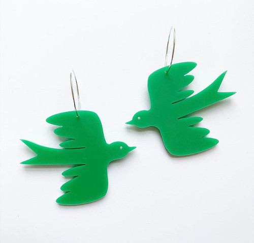 Small Bird Hoops Green