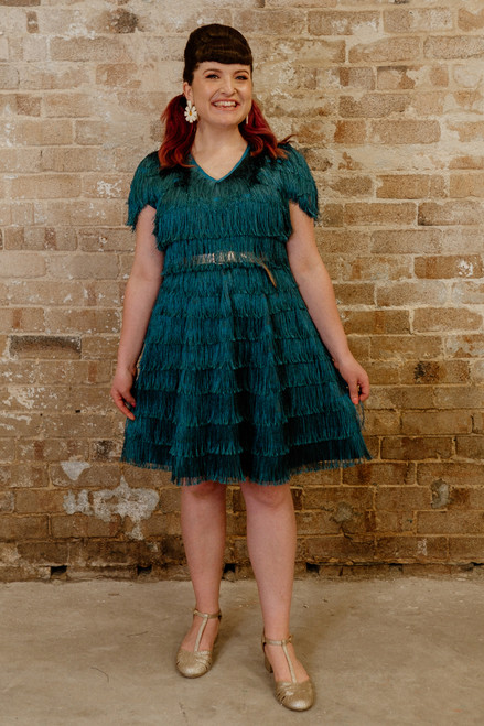 Frenchie Fringe Dress Pine