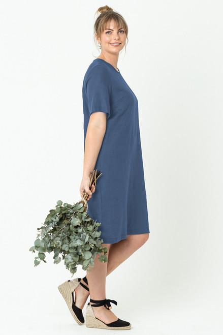 Grace Dress Linen Denim Blue