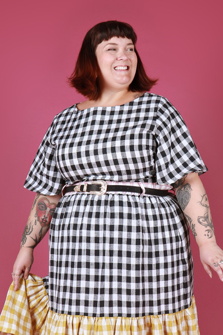 Evelyn Top Picnic Gingham Black