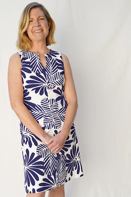Tunic Dress Japanese Floral Navy