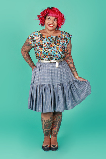 Rayna Skirt Shimmer Stripe
