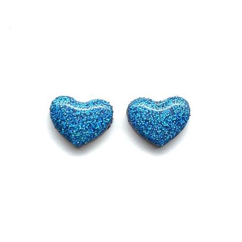 Glitter Heart Blue Studs