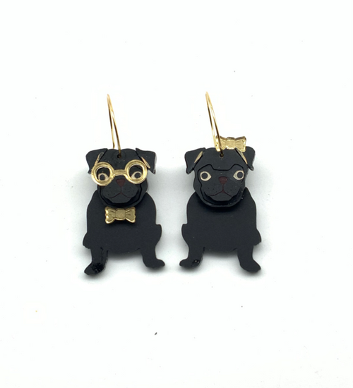 Grantly and Gracie Pug Dangles Black