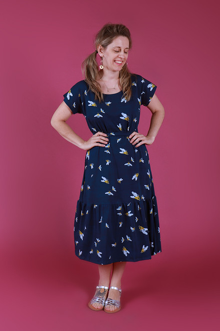 Rayna Dress Jersey Blue Banded Bees
