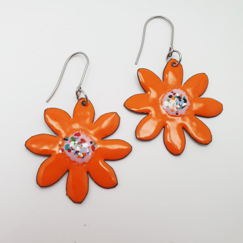 Enamel Orange Flowers