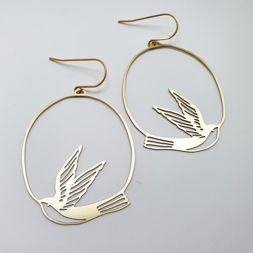 Swallow Dangles in Gold