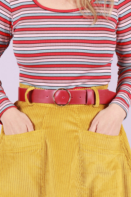 Leather Belt Wide Cherry