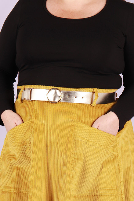 Leather Belt Wide Gold