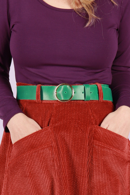 Leather Belt Wide Green