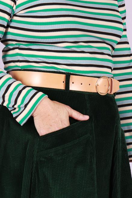 Leather Belt Wide Natural Brown