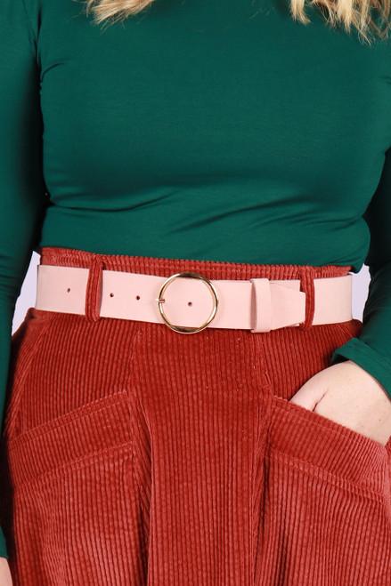 Leather Belt Wide Pink