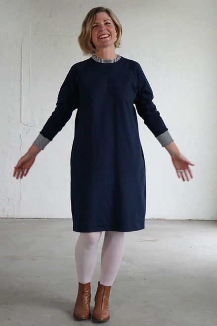 Sweater Dress Plain Navy