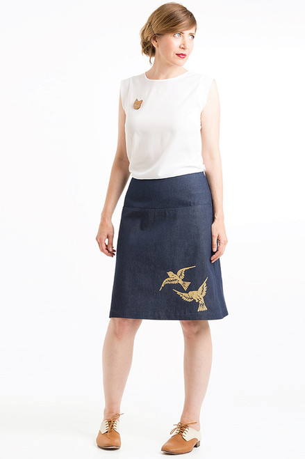 Panel Skirt 2 Birds Indigo