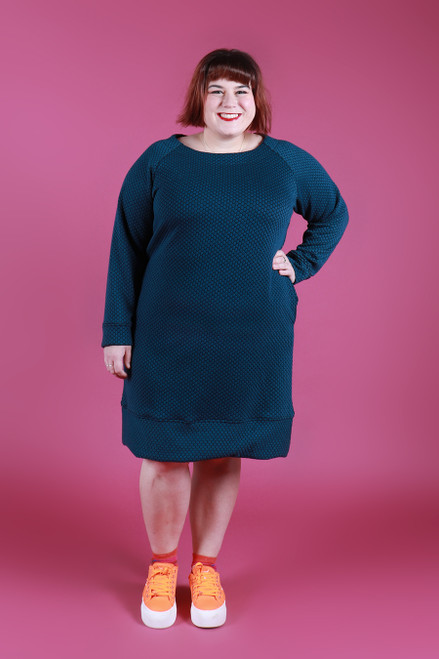 Sadie Dress Honeycomb Teal