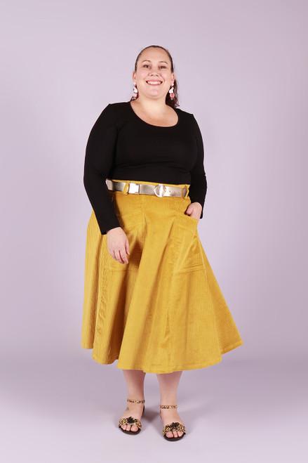 Paige Cord Skirt Mustard