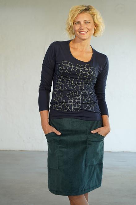 Heidi Cord Skirt Petrol