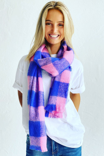 Scarf Asher Pink w Blue