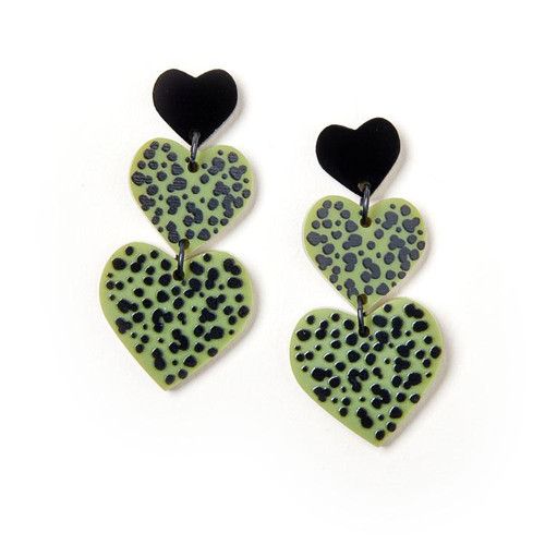 Candy Heart Earrings Blk Olive