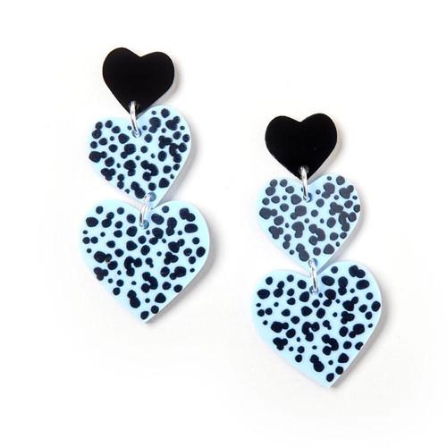 Candy Heart Earrings Black Blue