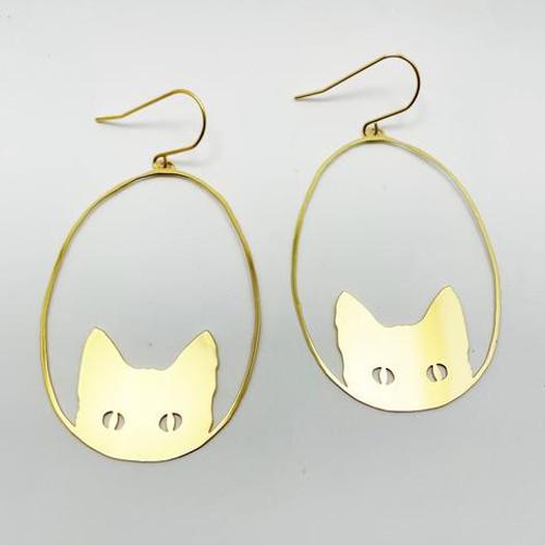 Gold Cat Dangles