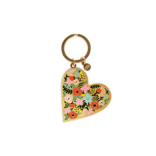 Enamel Keychain Floral Heart