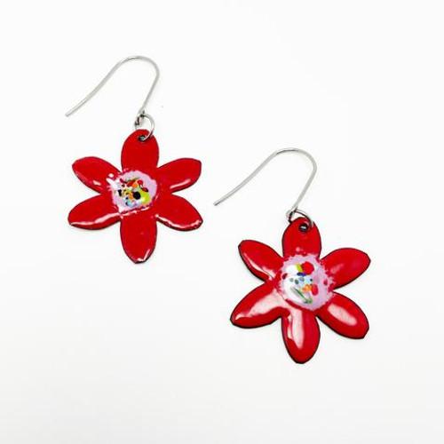 Enamel Flower Dangles Red