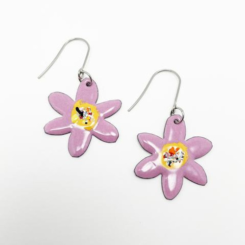 Enamel Flower Dangles Musk Pink