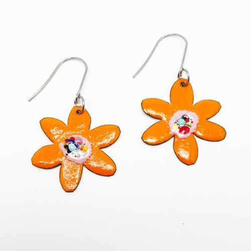 Enamel Flower Dangles Orange