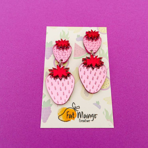 Pink Strawberry Dangles