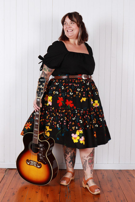 Layla Skirt Spliced Favourite Floral Blk