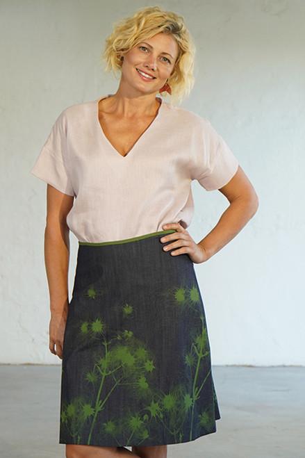 A-Line Skirt Short Dispersal Denim Green