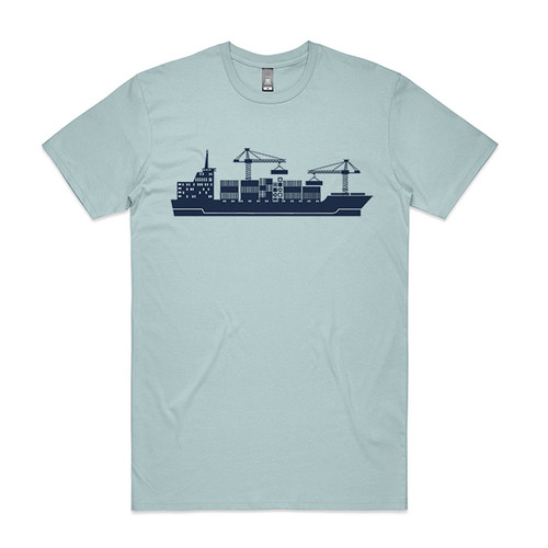 Cargo Ship Pale Blue Mens T.