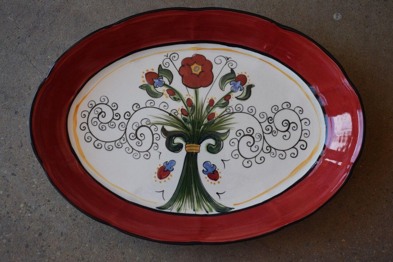 """(OB11-16x11- VR) 16"""" Oval Platter- Venetian Red"""