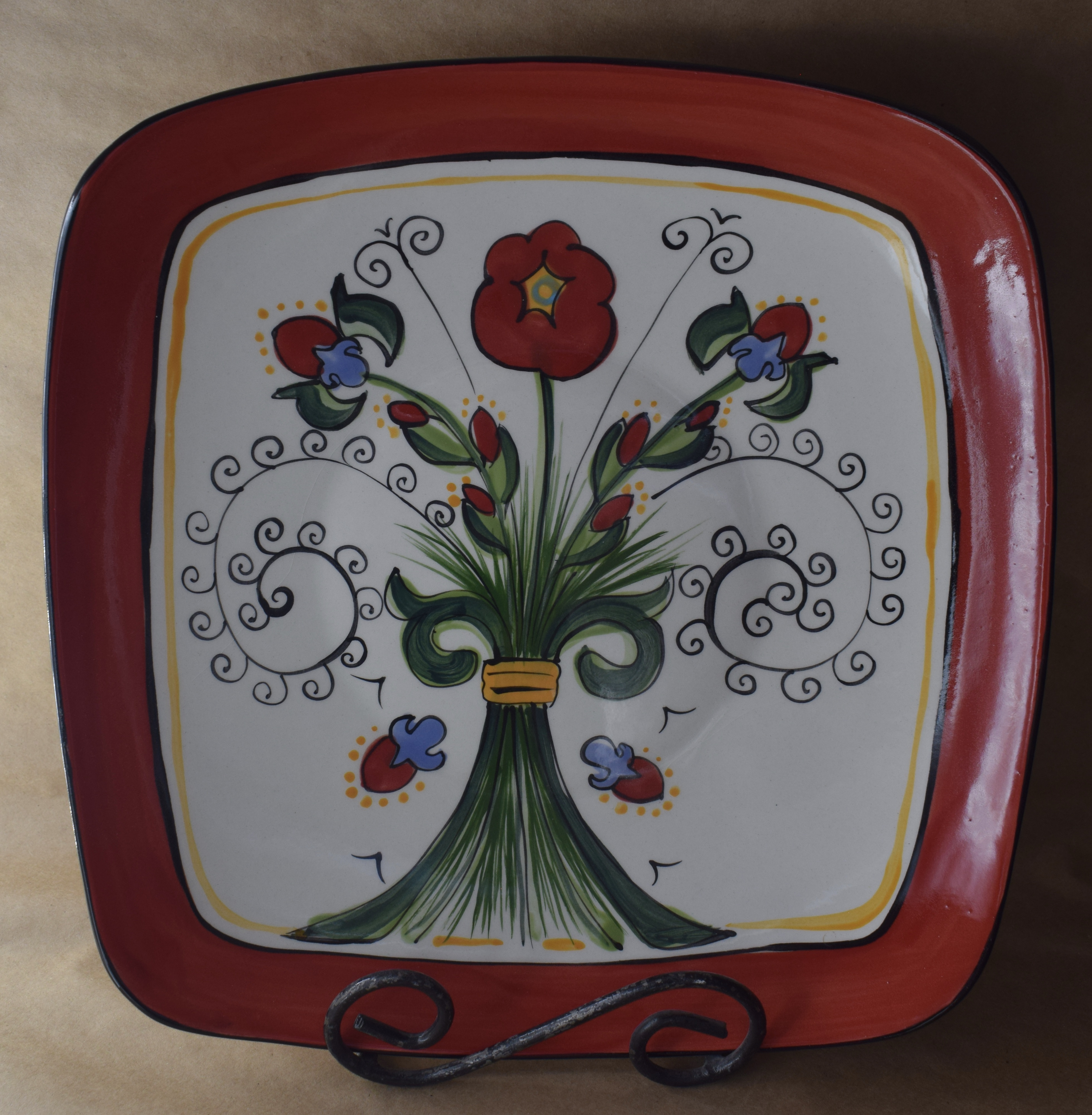 (SP11BI-VR) Square Plate- Venetian Red