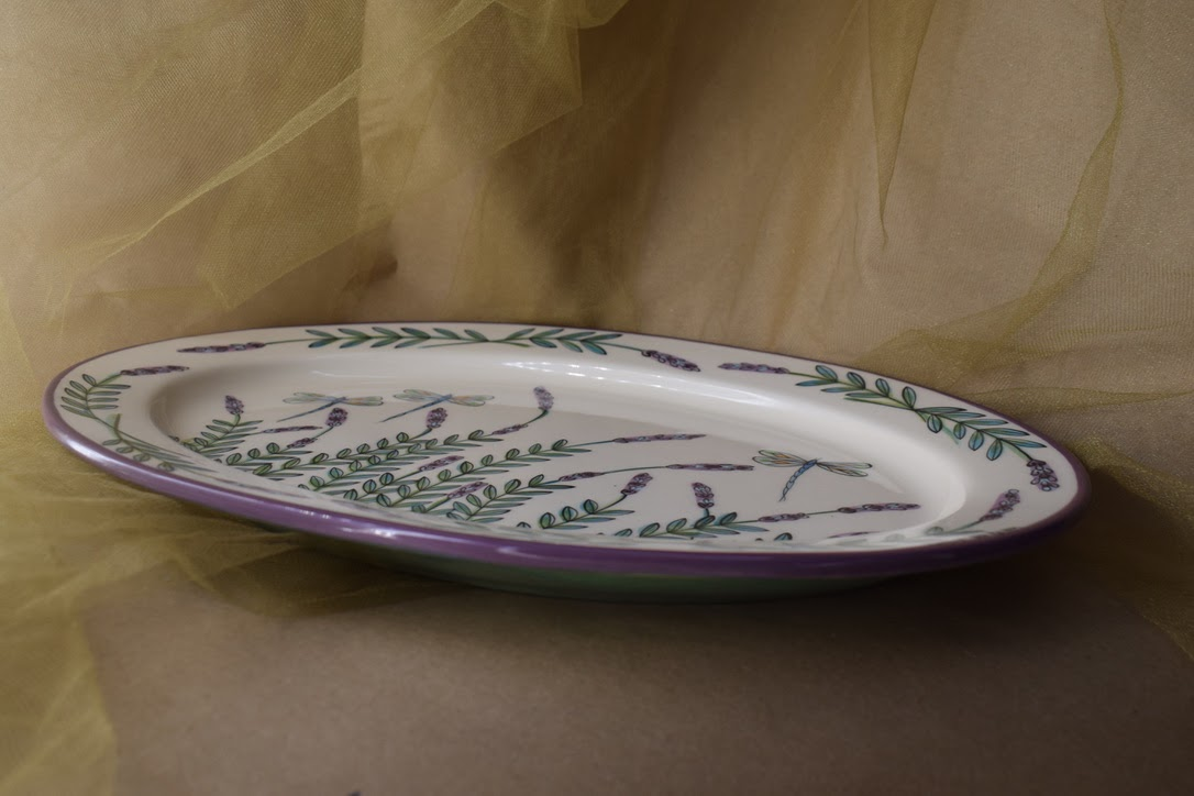 """(OP15-RIM-WLD) 15"""" Oval Platter- White Lavender with Dragonfly"""