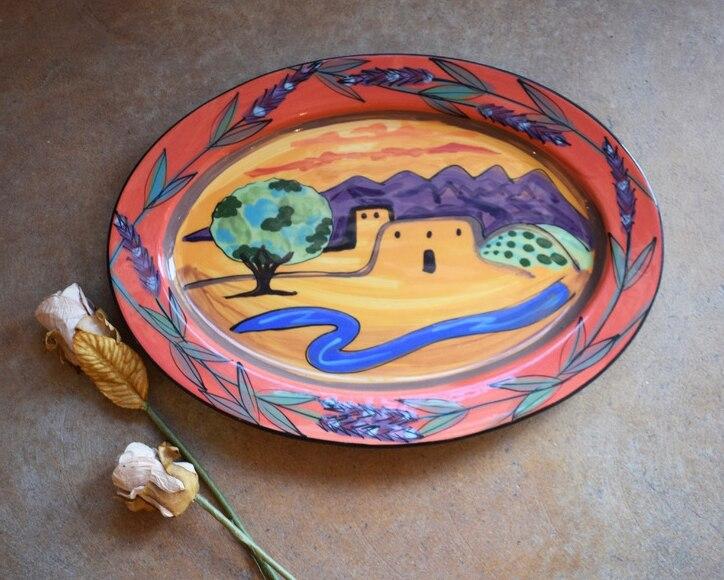 "15"" Oval Platter with Rim-Los Ranchos"