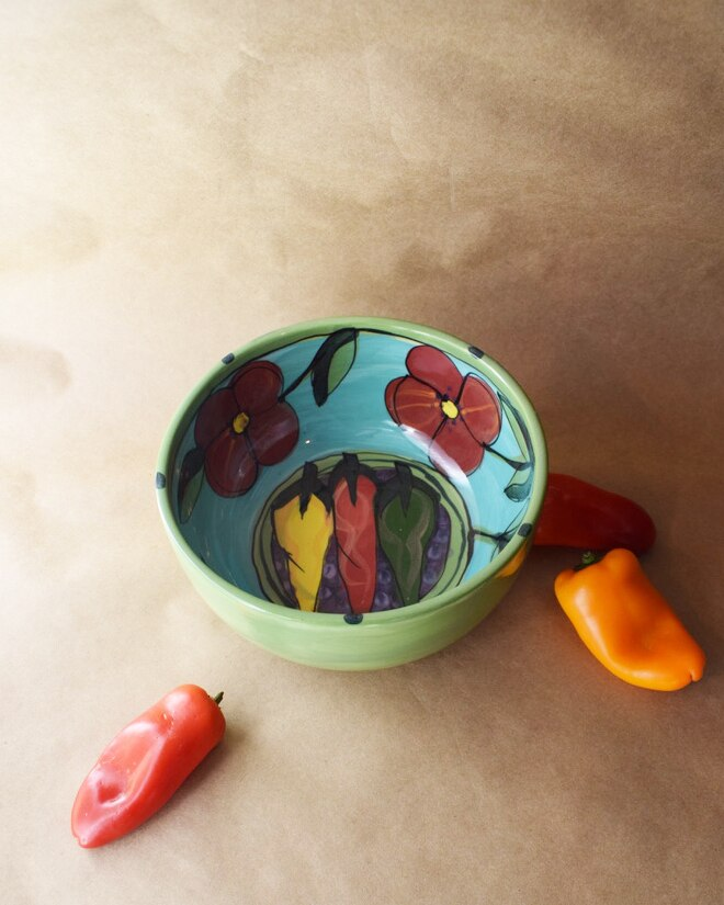 "(CB08-CR) 8"" Cereal Bowl- Chile Rojo"