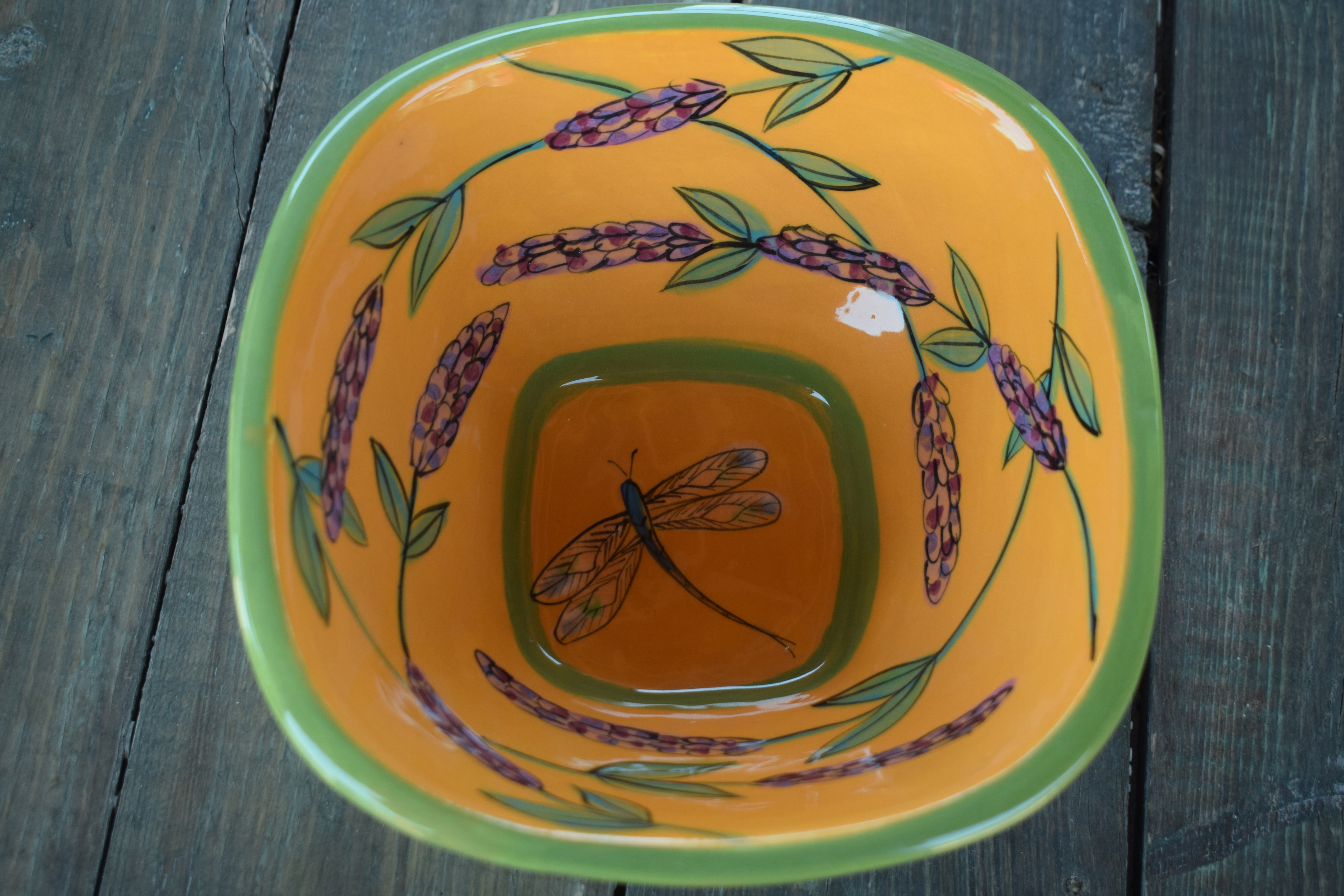(SB95-YLD) Square Bowl- Yellow Lavender with Dragonfly