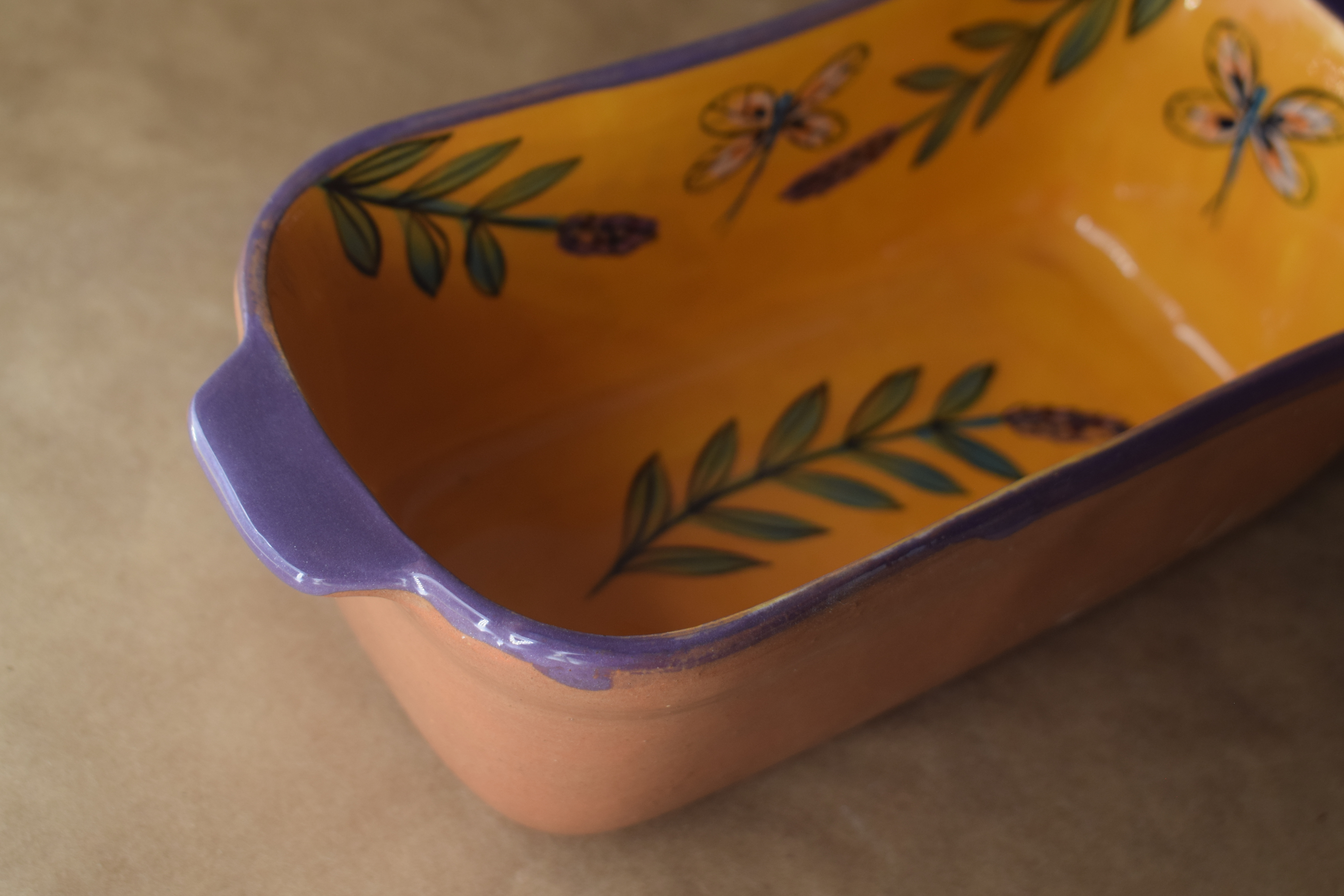 "(RBD09-YLD) 9"" Rectangular Baking Dish- Yellow Lavender with Dragonfly"