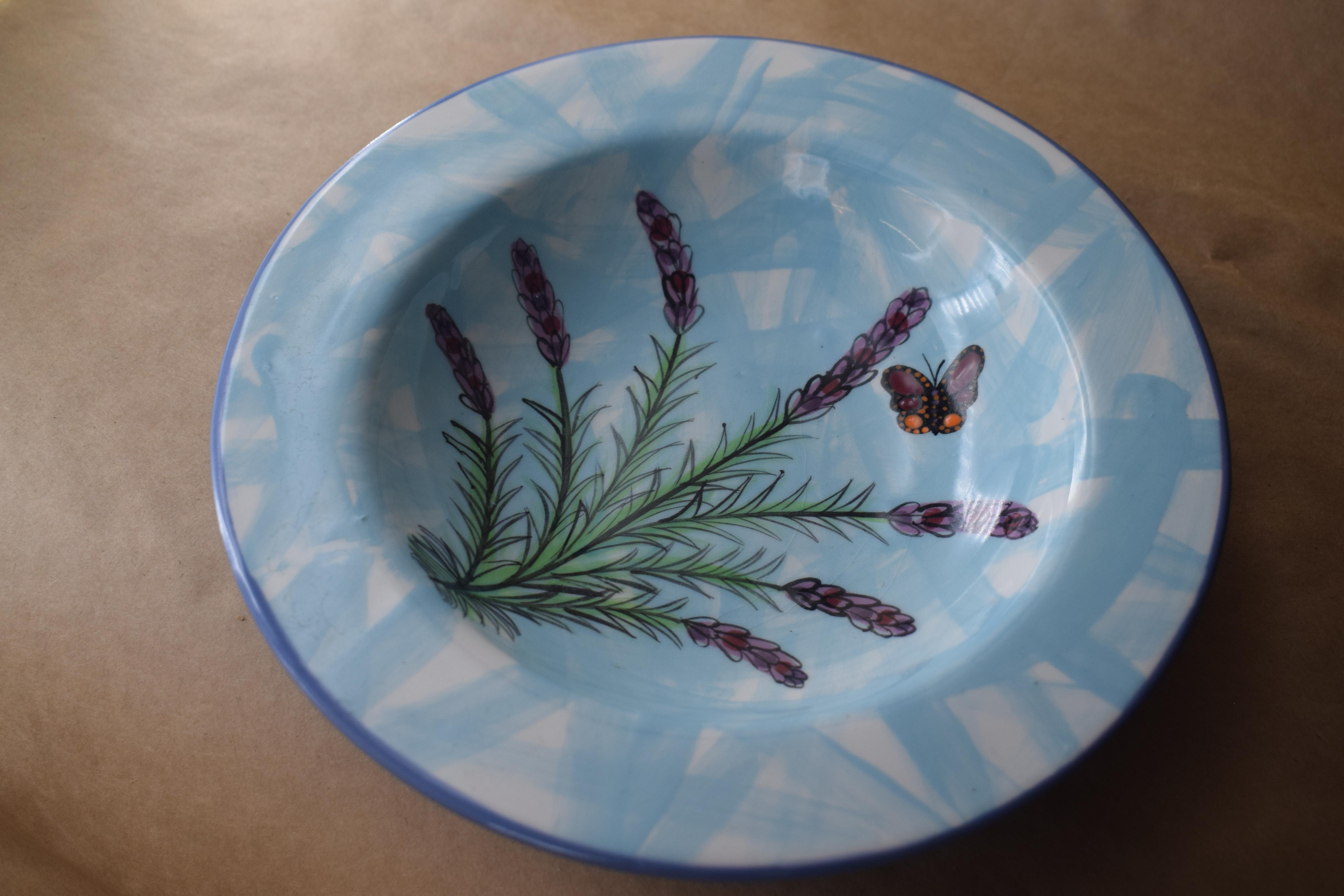 """(CB12-EL) 9"""" Rimmed Cereal Bowl- English Lavender"""