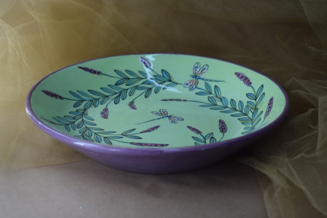 """(BI-MB10-GLD) 10"""" Shallow Serving Bowl- Green Lavender with Dragonfly"""