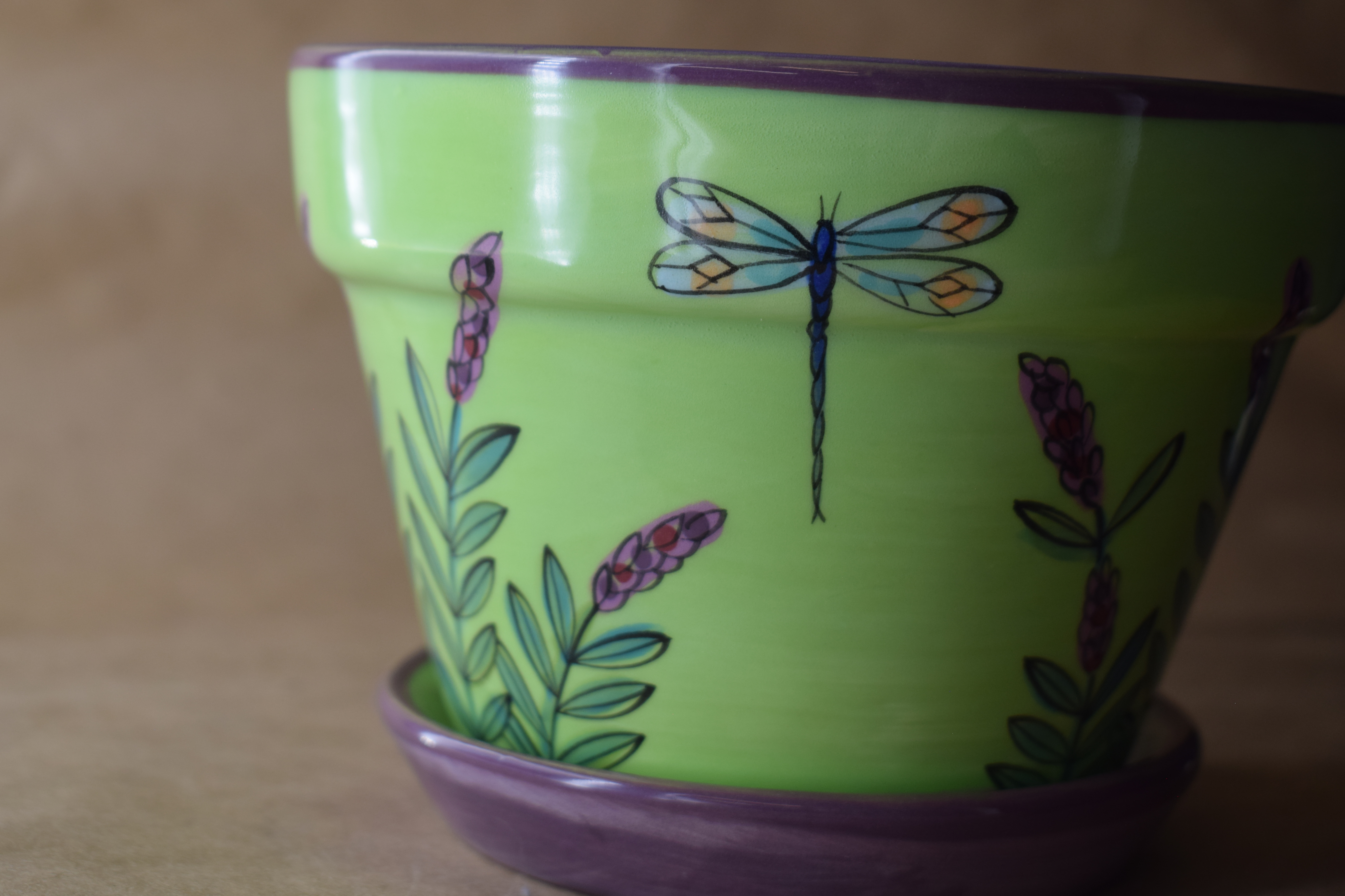 (MP06-GLD) Medium Planter- Green Lavender with Dragonfly