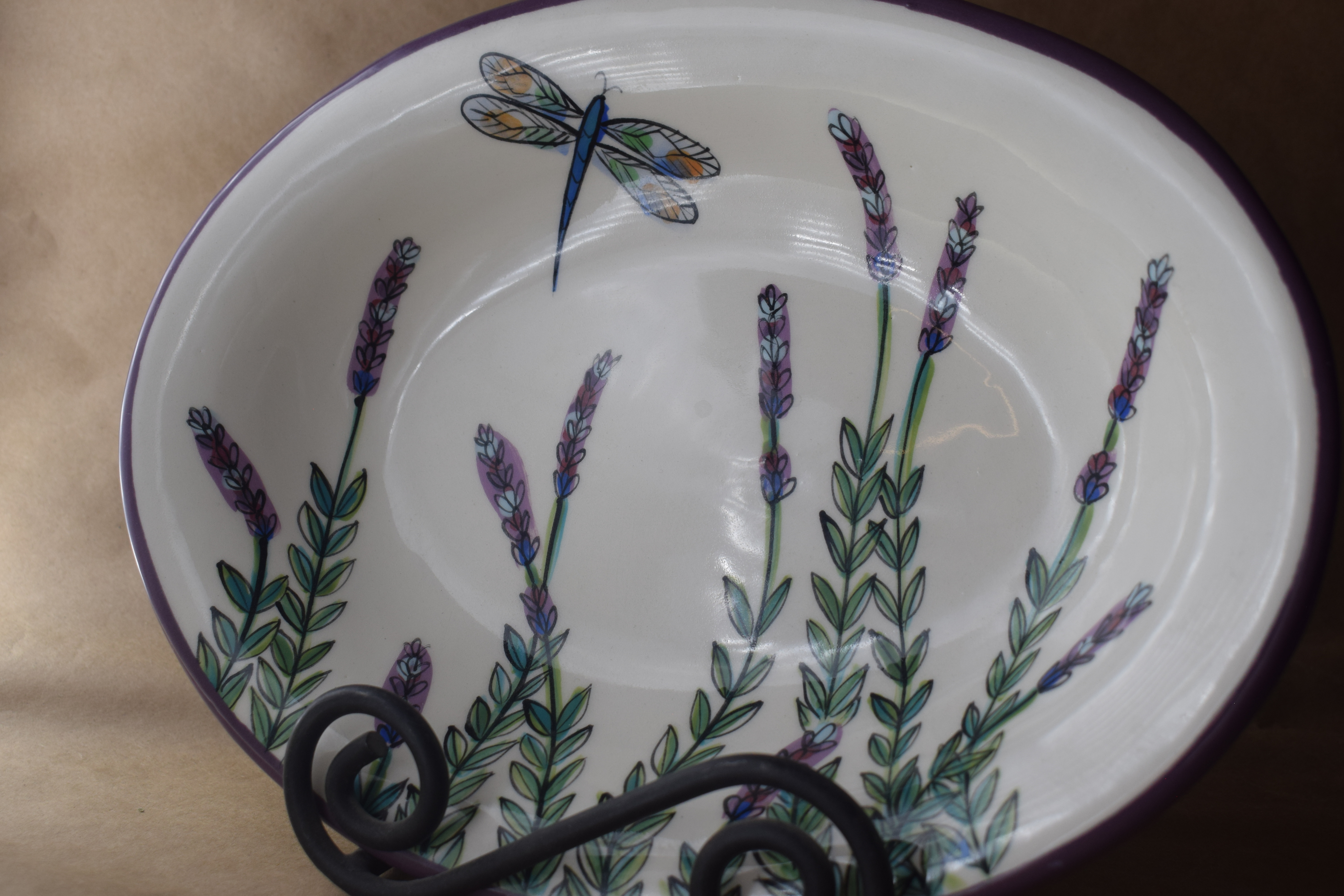 """(CP20-WLD) 10"""" Oval Casserole- White Lavender with Dragonfly"""