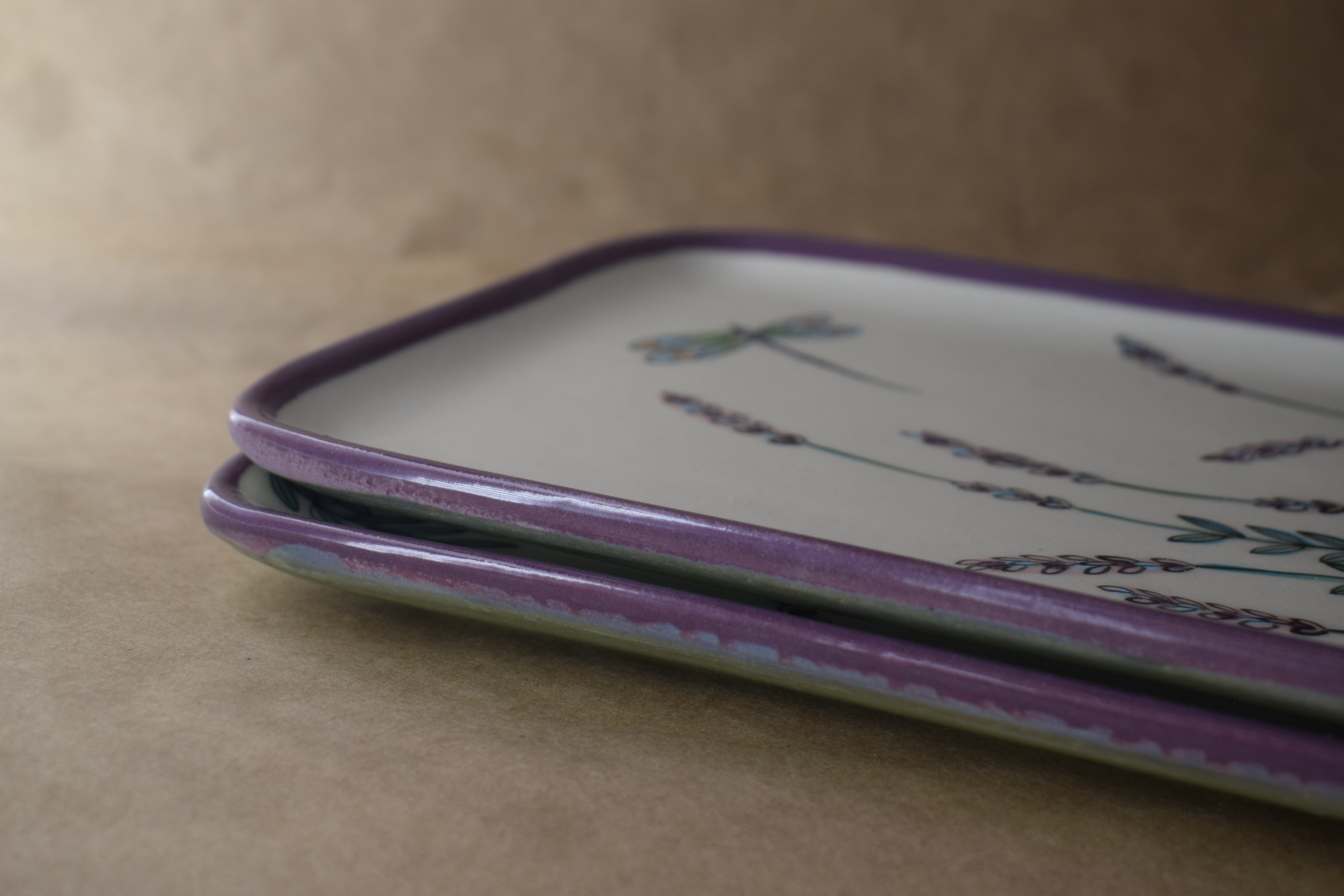 (RP06-WLD) Rectangular Plate- White Lavender with Dragonfly