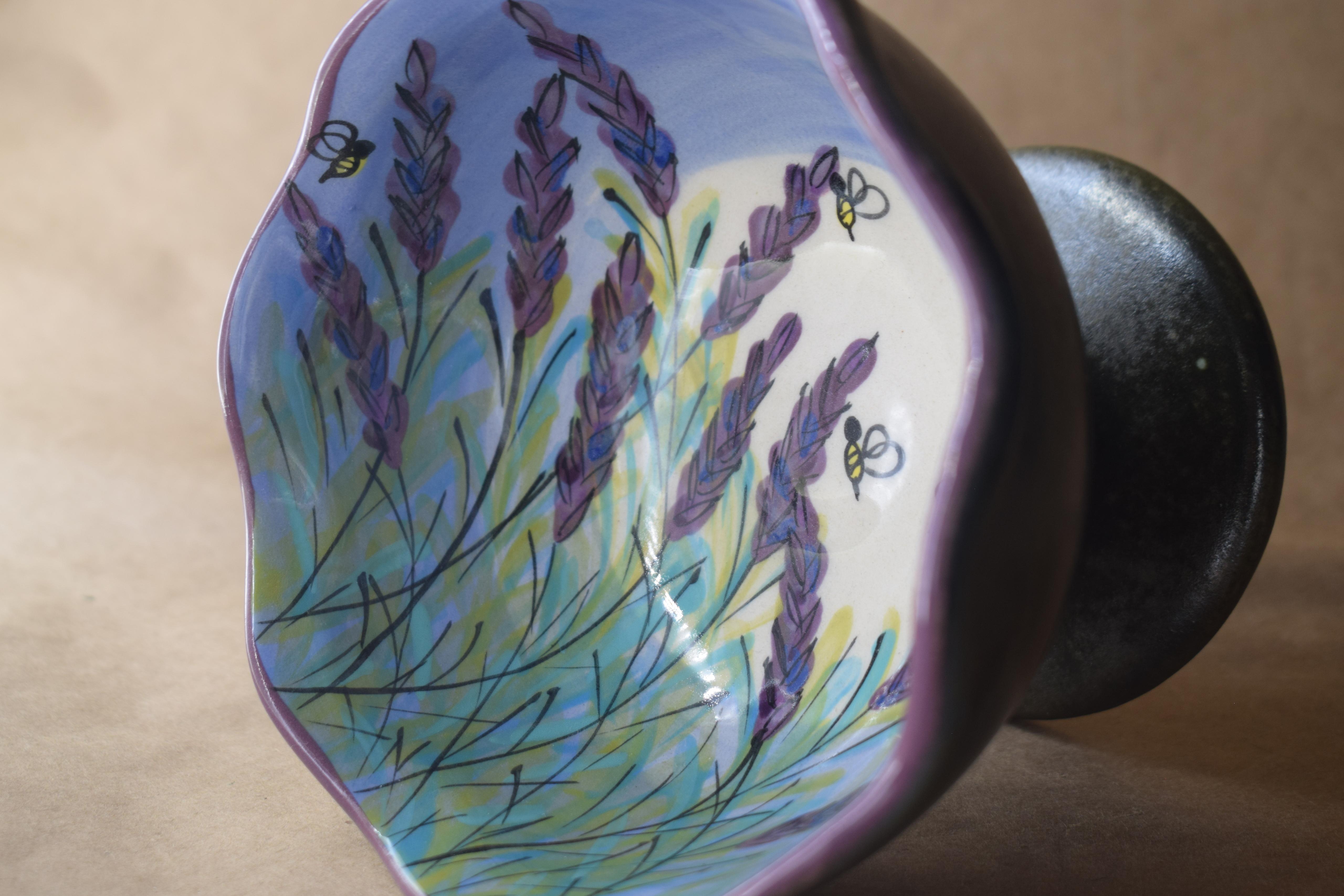 "(ICB44BI-LM-ICE CREAM B) 5"" Wavy Ice Cream Bowl- Lavender Moon"