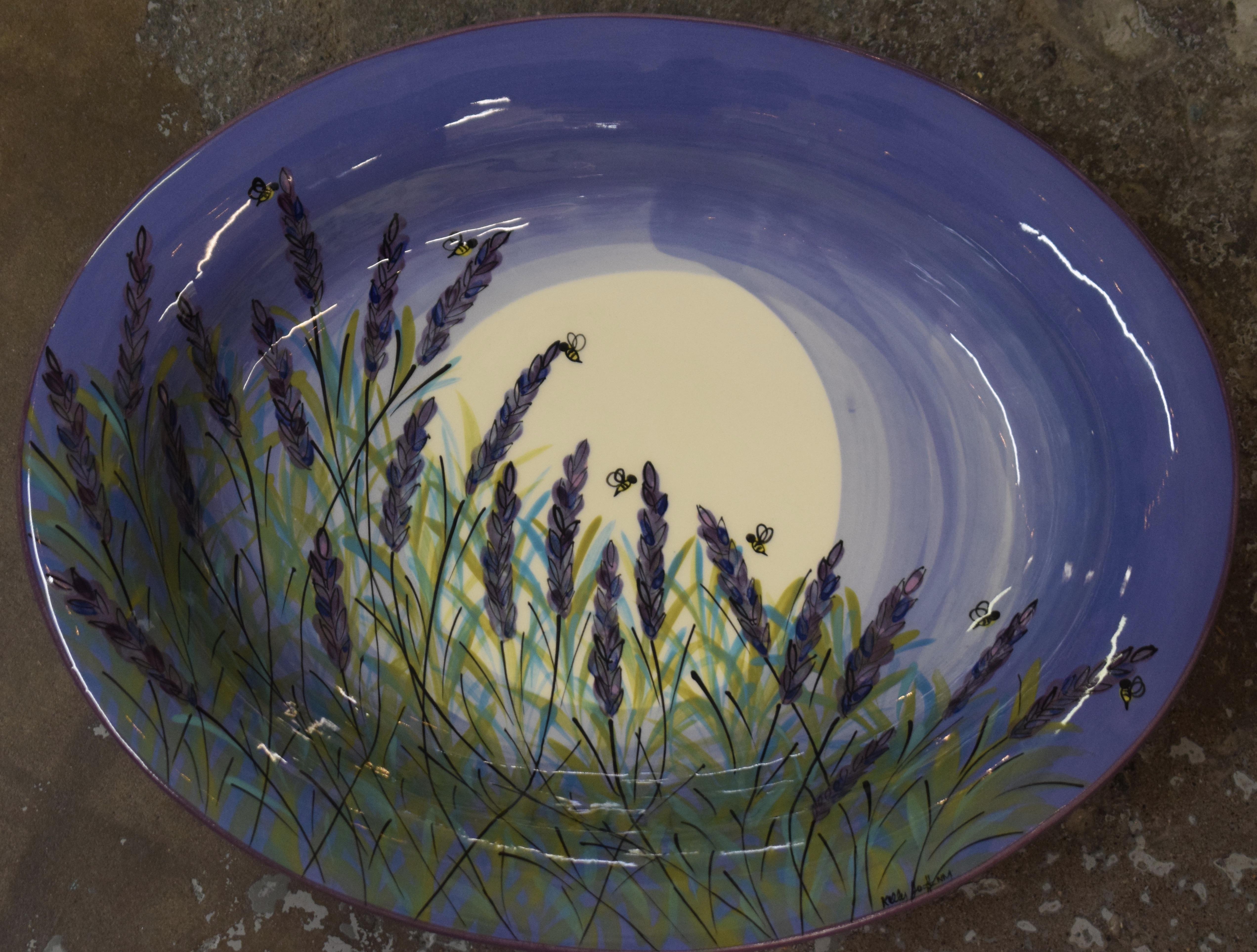 "(OB16-LM) 16"" Oval Bowl- Lavender Moon"
