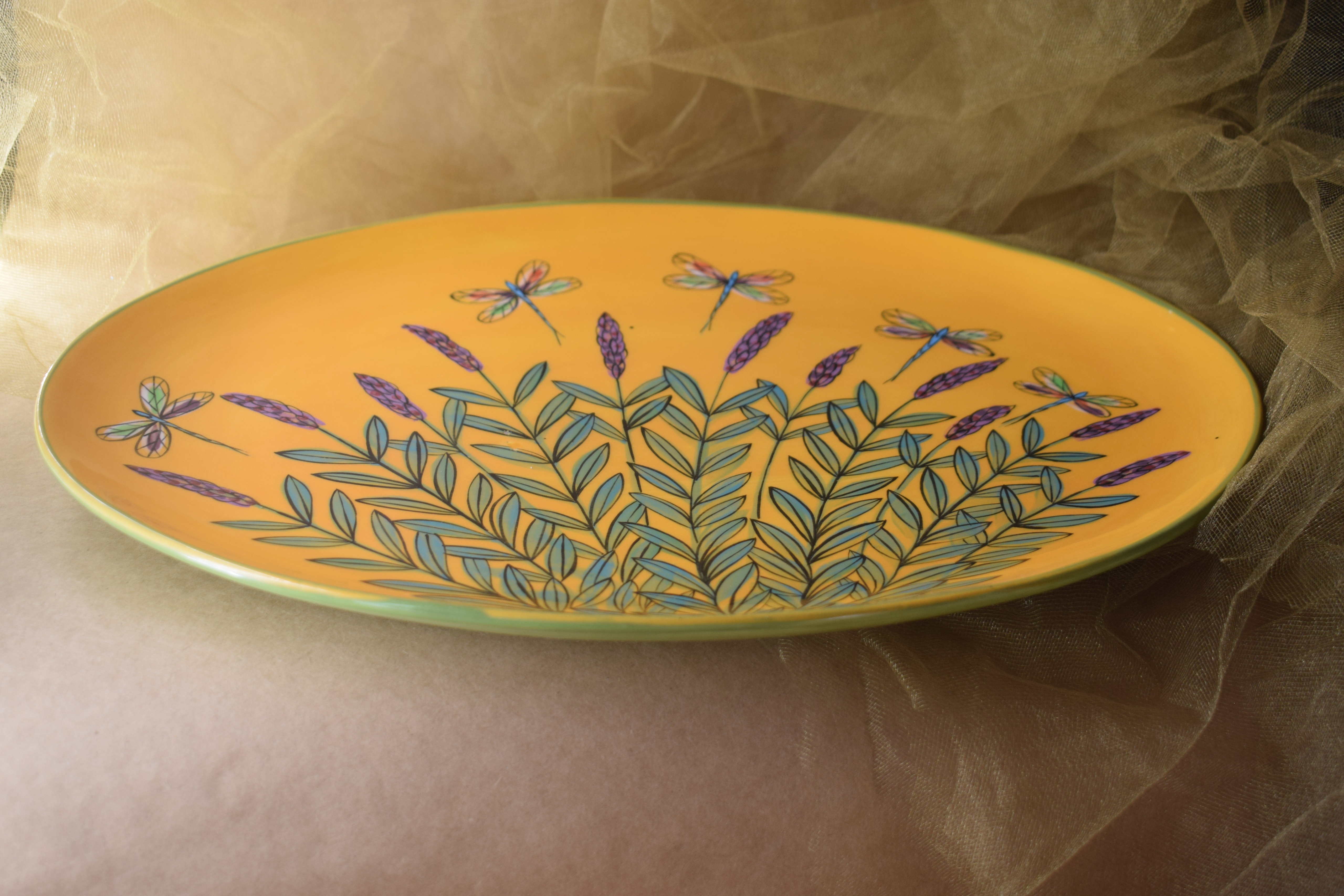 "(OP15-YLD) 15"" Oval Platter- Yellow Lavender with Dragonfly"