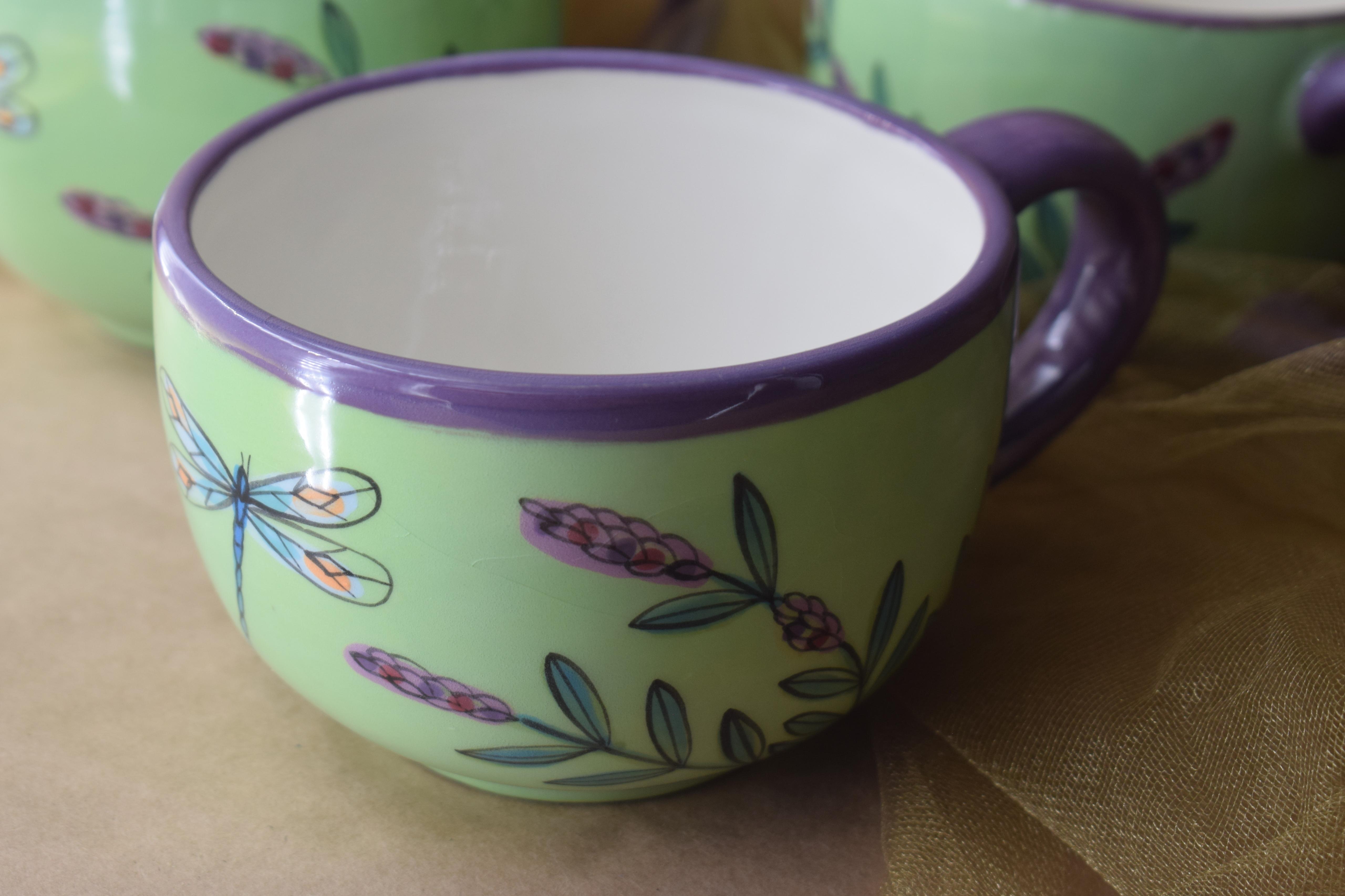 (LM16-GLD) 16oz. Latte Mug- Green Lavender with Dragonfly